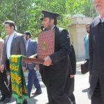استقبال کارکنان فیروز از خادمان و پرچم گنبد نورانی بارگاه امام رضا (ع)